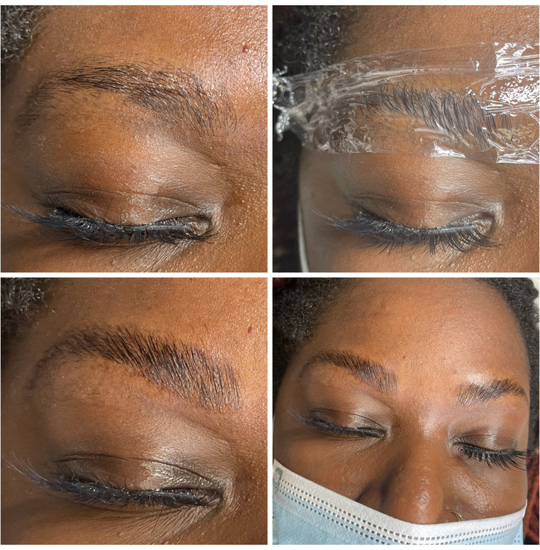 Brow Lamination - before/during/after