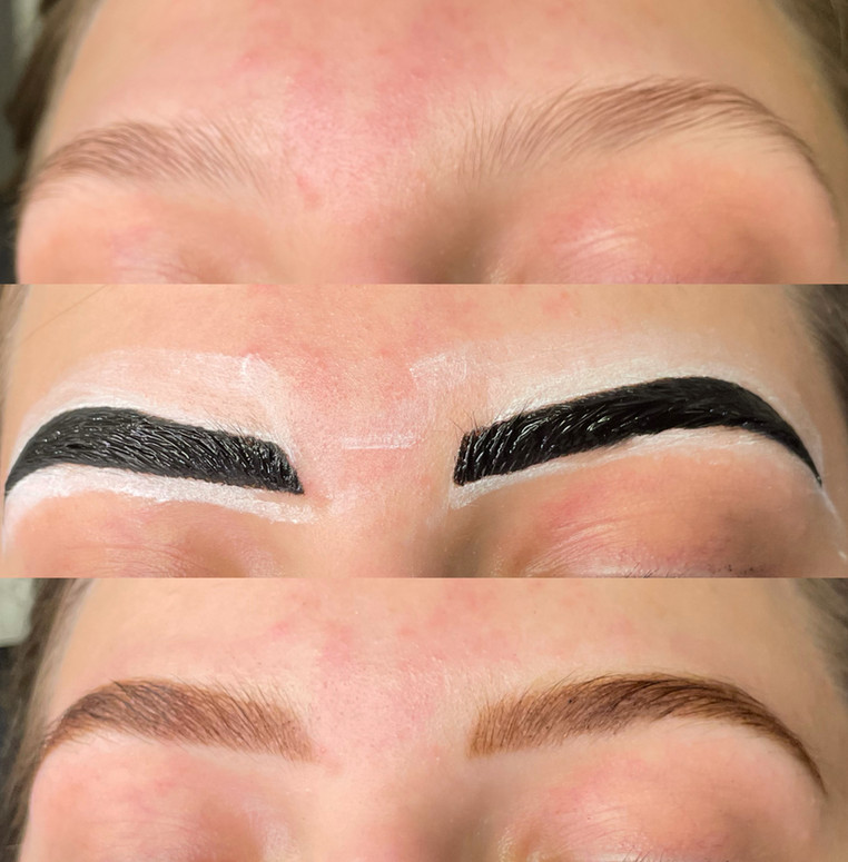 Henna Brow Tint - before/during/after