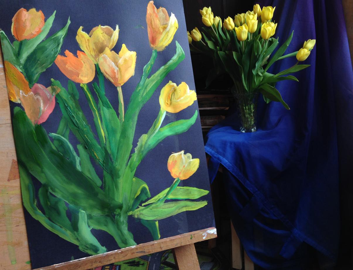 Тюльпаны. Блиц живопись
