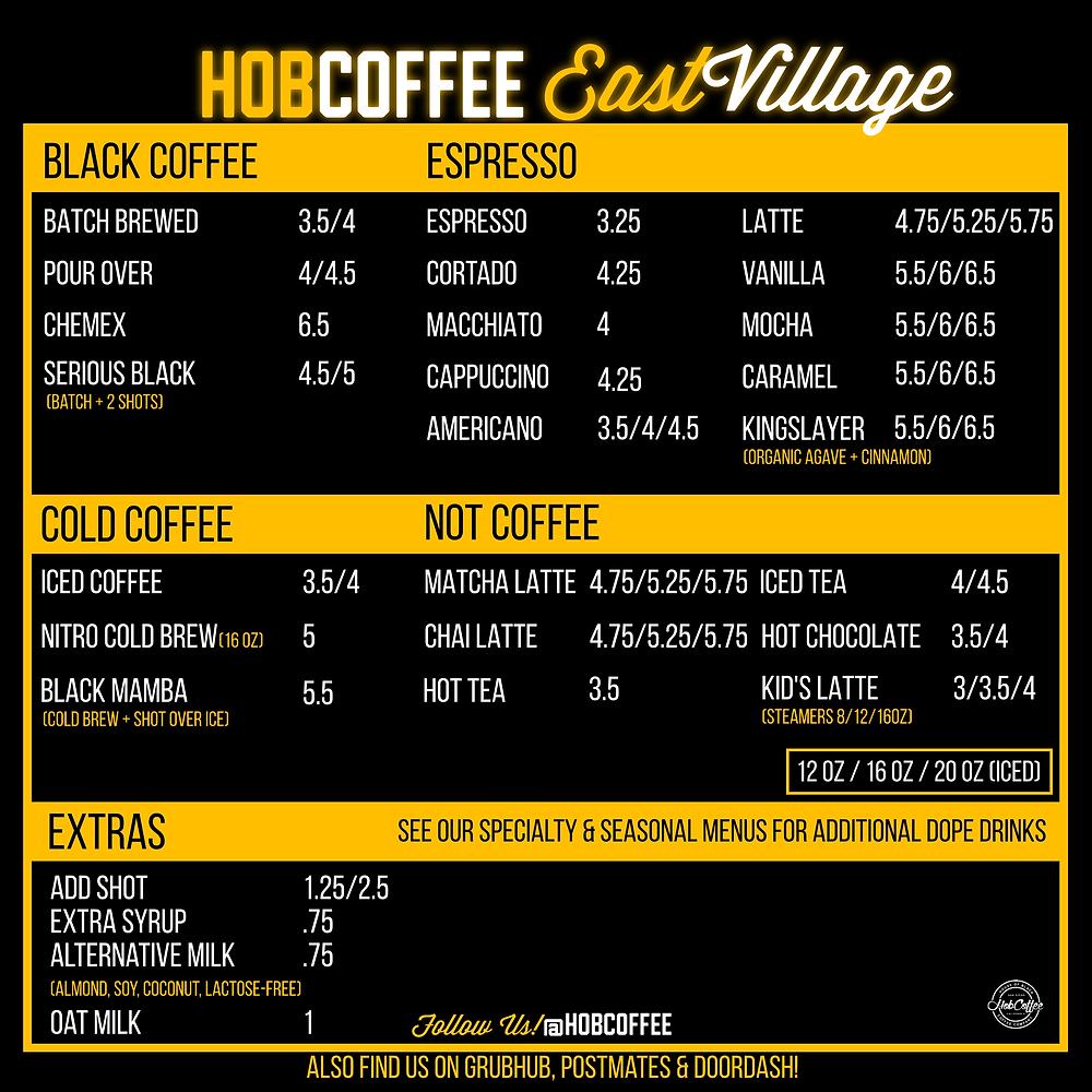 Hob Coffee Coffee Menu