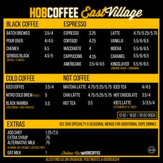 Hob Coffee East Village Menu!