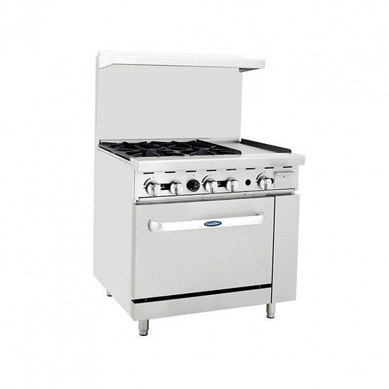 """4-Burner Range w/ 12"""" Manual Griddle & Single Oven 36"""" - ATO-4B12G"""