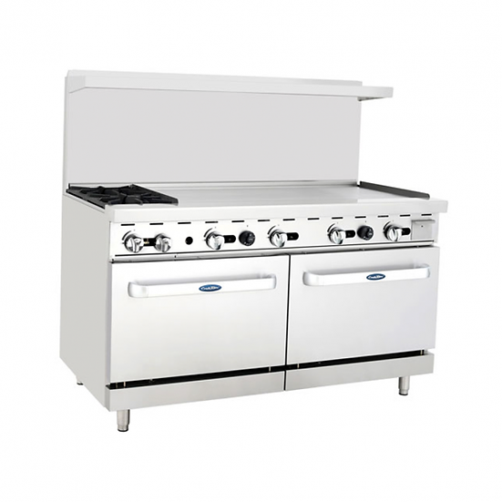 "2-Burner Range w/ 48"" Manual Griddle & Double Oven 60"" - ATO-2B48G"