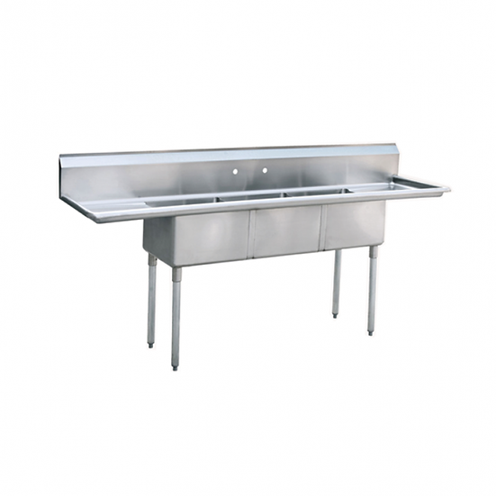 "3-cmpt Stainless Steel Sink w/ 18"" Left & Right Drainboards 90"" - MRSA-3-D"