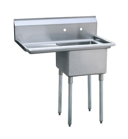 "1-cmpt Stainless Steel Sink w/ 18"" Left Drainboard 39"" - MRSA-1-L"