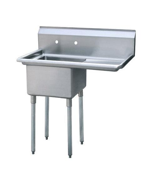 """1-cmpt Stainless Steel Sink w/ 18"""" Right Drainboard 39"""" - MRSA-1-R"""