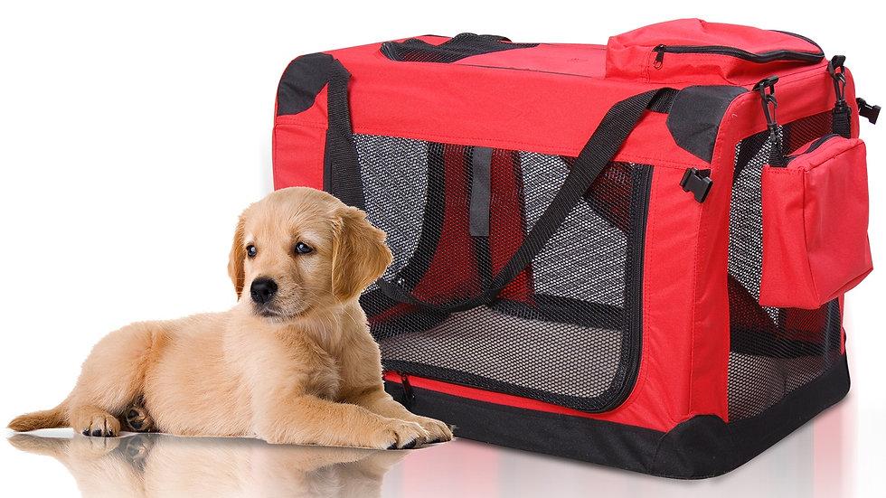 SDB Small Pets PVC Oxford Cloth Travel Carrier w/ Mesh Windows Red