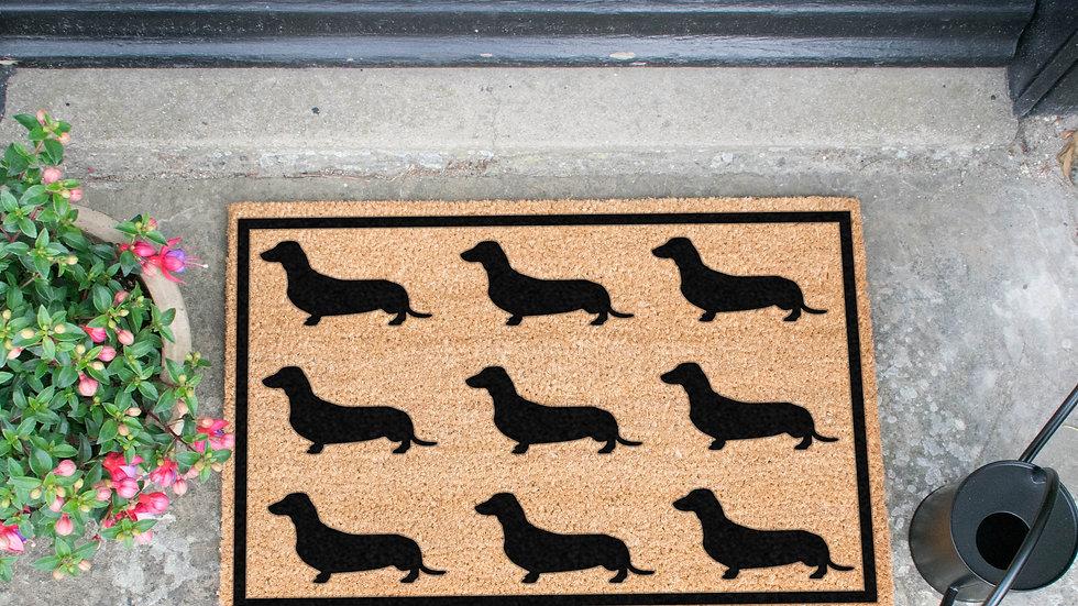 Sausage Dog Box, Dachshund Doormat featuring Dachshund Sausage Dog