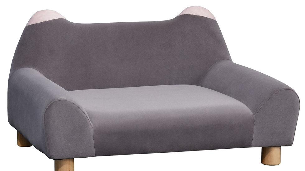Sausage Dog Box Velvet Feel Sofa Bed Grey Pink Ears