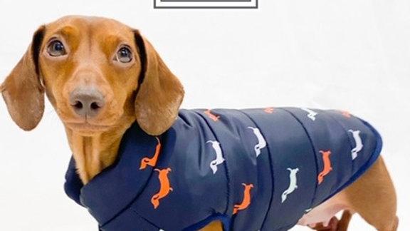 Sausage Dog Box Dachshund Navy Print Fleece Puffer Coat