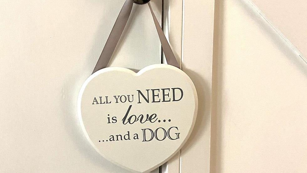 Sausage Dog Box White Hanging Heart