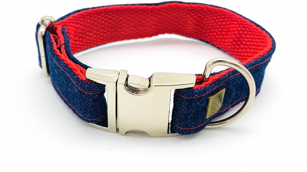 Sausage Dog Box Luxury Handmade Denim Collar