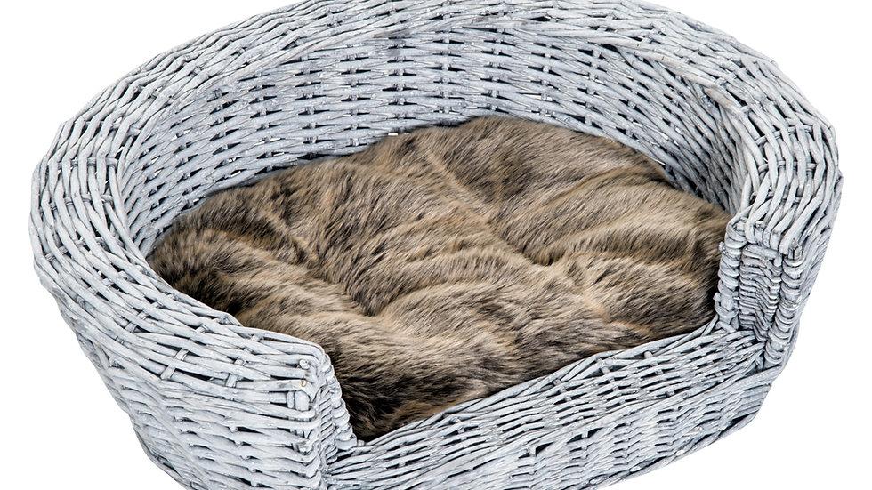 Sausage Dog Box Grey Rattan Bed With Faux Fur Cushion