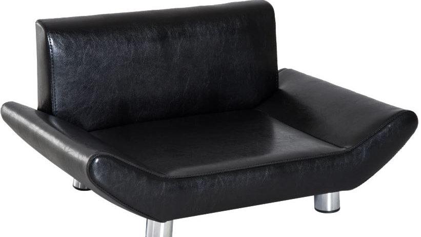 Sausage Dog Box Luna Pet Sofa Couch Bed PU Leather, Black
