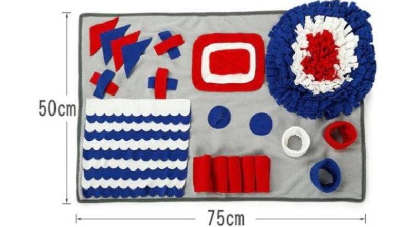 Sausage Dog Box XL Blue, White & Red Snuffle Mat
