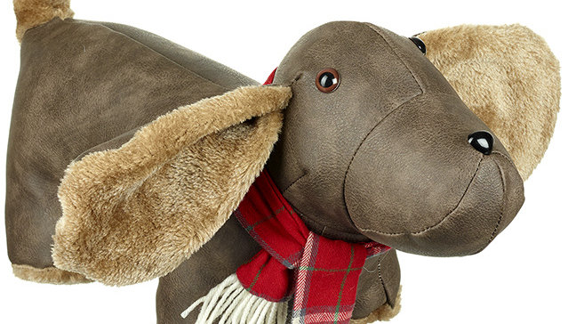 Sausage Dog Box, Dachshund Luxury Faux Leather Sausage Dog Doorstop With Scarf