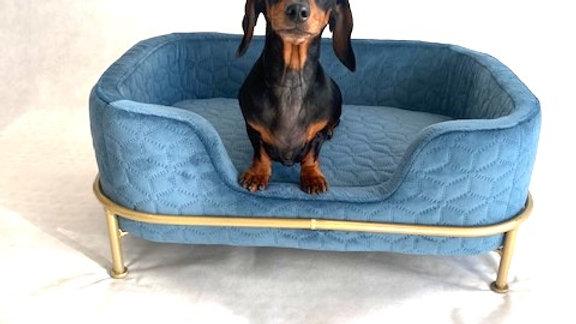 Sausage Dog Box, Dachshund Amity Blue/Gold Luxury Velvet Dog Bed Sofa
