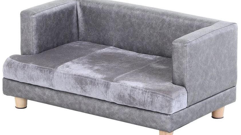 Sausage Dog Box Luxury Grey Leather Look Sofa Bed