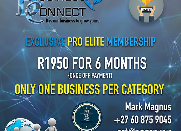 PRO ELITE MEMBERSHIP FOR 6 MONTHS - ONLY R1500 TO RENEW