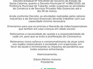 Comunicado às empresas: Decretos Estadual e Municipal