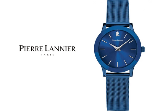 Pierre Lannier: Ligne Pure 050J968 - Beautiful blue, moulds elegantly to the wrist