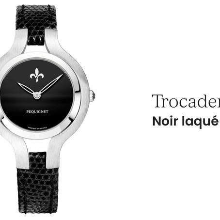 Pequignet : Trocadero Lacquered black, 5N plated case with 86 diamonds.