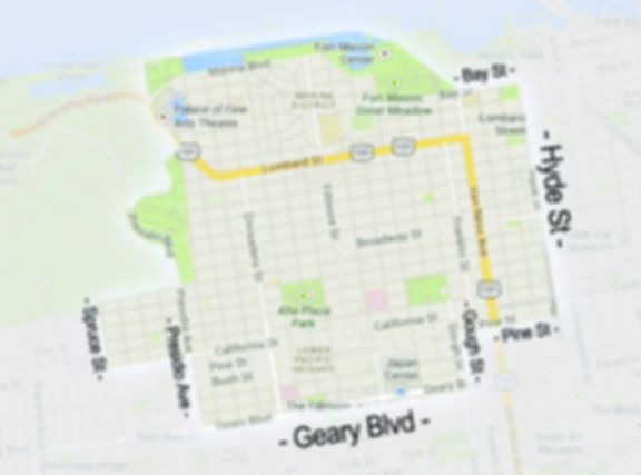 Citizen Hound service area map San Francisco Marina Cow Hollow Pacific Heights Laurel Heights Russian Hill Dog Walkers