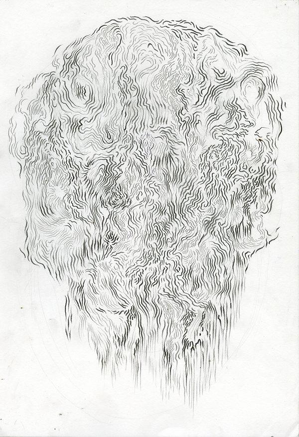norman sha, artist, drawing, landscape as head