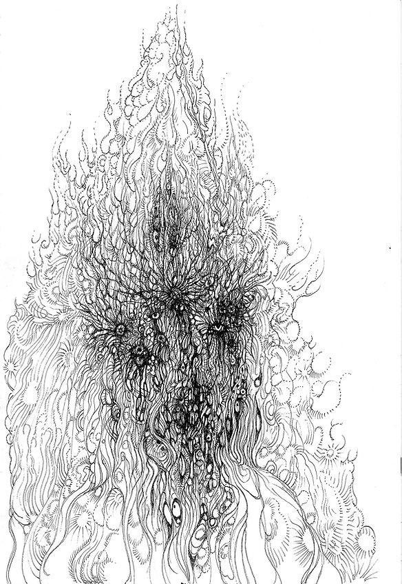 norman shaw, drawing, hp lovecraft, speculative realism, eugene thacker, demon, consciousness