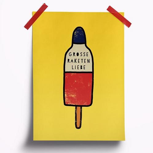 Postkarte // Raketenliebe Gelb