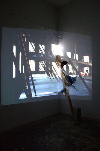 Projection of construction image with patricia Burns