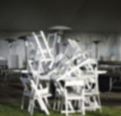 Photograph at Claremont Graduate University of stacked chairs. Taken by Patricia Burns for her MFA Thesis 2013.