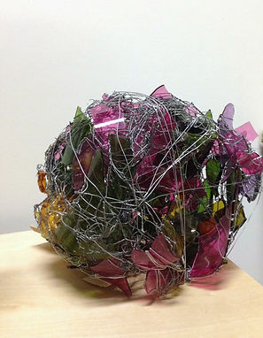 Glass and wire sculpture made by Patricia D Burns in her studio Los Angeles, CA.
