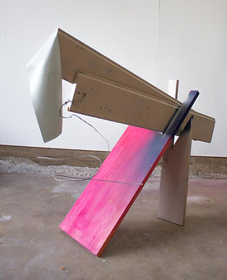Sculpture made of Wood, elastic, and spray paint by Patricia D Burns