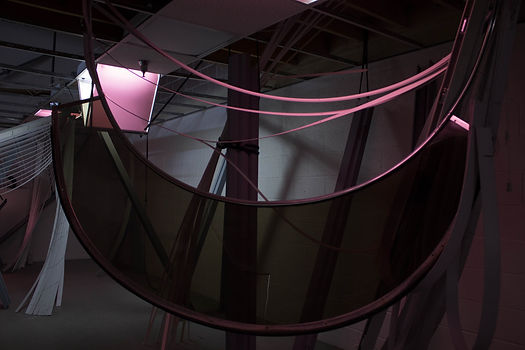 Site Specific installation by Patricia Burns, boat visor with pink light