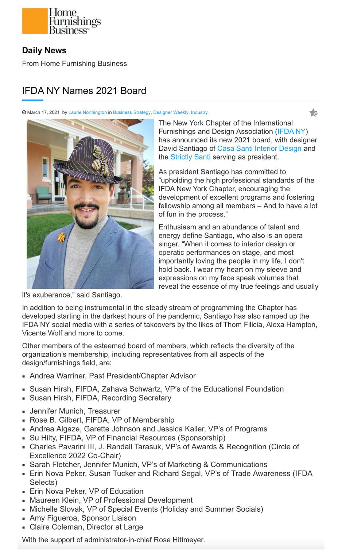 David Santiago - IFDA NY Chapter President 2021