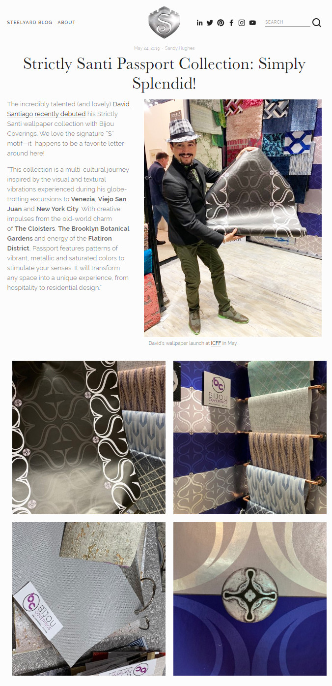 "Steelyard Access on David Santiago's Wallcovering ""The Passport Collection"""
