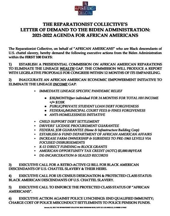 Reparationist Collective List of Demands
