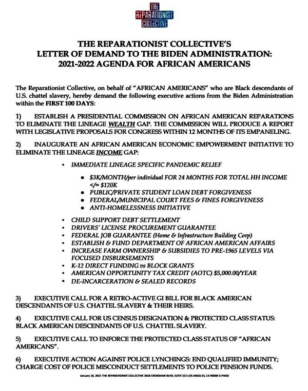 Reparationist Collective List of Demands