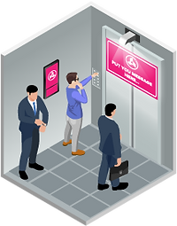 Bank branches - Elevator Advertising Digital Out-of-home Advertising Ei-Mini Lifter Ad Projector Ei-Slim Dual Ad LCD Display Usage Scenario