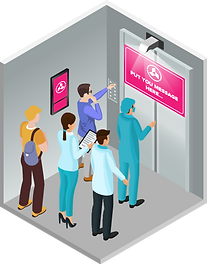 Advertising in Hospitals & Medical Centers  Elevator Advertising Digital Out-of-home Advertising Ei-Mini Lifter Ad Projector Ei-Slim Dual Ad LCD Display Usage Scenario