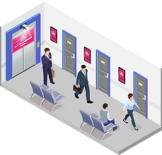 Government Services - Elevator Advertising Digital Out-of-home Advertising Ei-Mini Lifter Ad Projector Ei-Slim Dual Ad LCD Display Usage Scenario