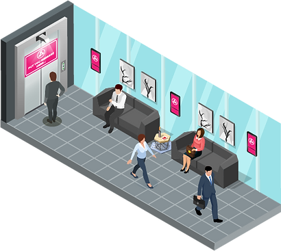 Цифровая реклама в коридорах офисного здания на мониторах