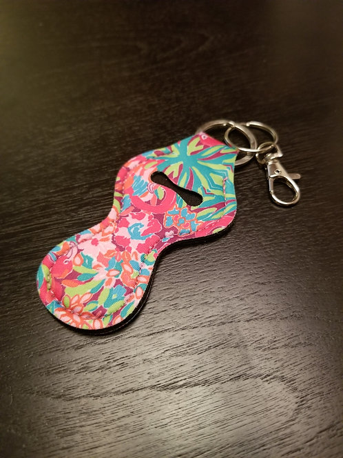 Mixed Floral Flamingo Lip Balm Keychain