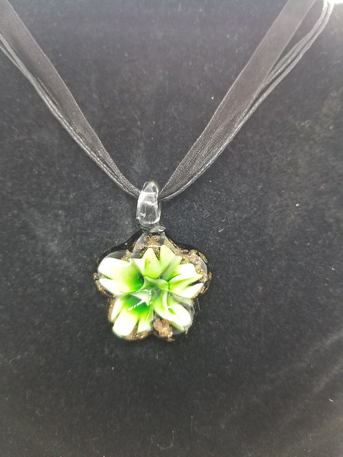 Glass flower pendant on ribbon necklace