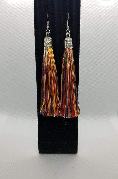 Boho long rainbow tassel earrings