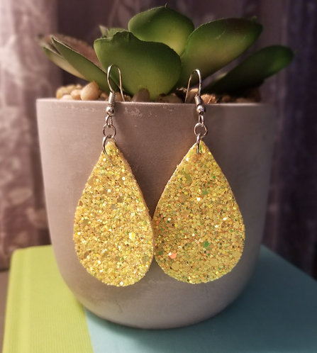 Yellow Sparkle Teardrop Earrings
