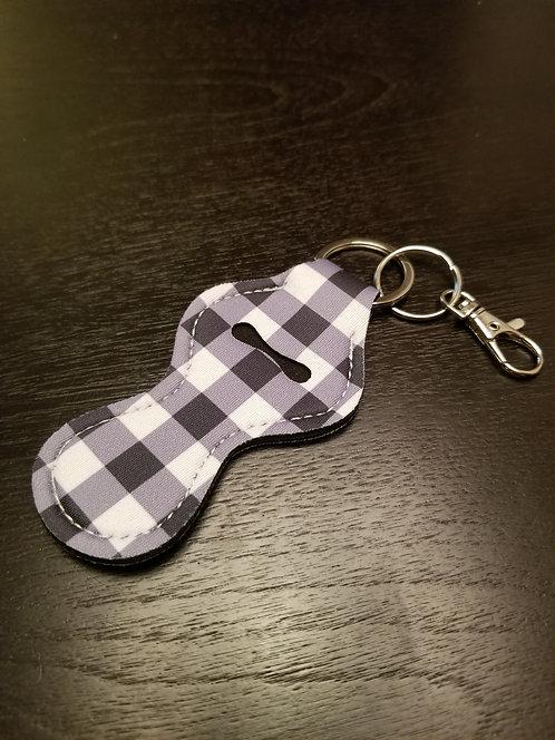 Plaid (Black and White) Lip Balm Keychain