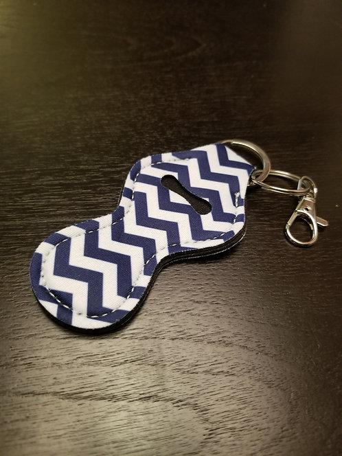 Chevron (Navy & White) Lip Balm Keychain