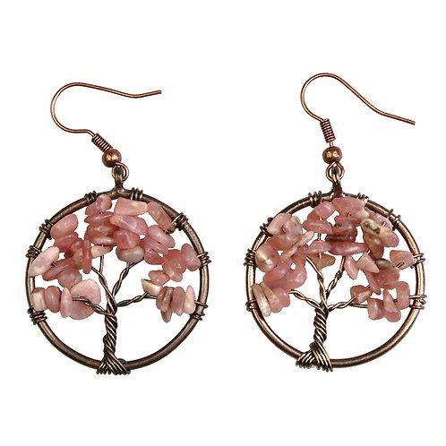 Argentina Rhodochrosite Tree of Life Earrings